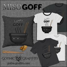 miso cute kawaii soup noodles Asian goff goth clothing pillow Gothic Outfits, Noodles, Graffiti, Soup, Kawaii, Asian, Cute, Clothing, Gothic Clothing