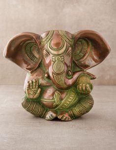 Antique Brass Ganesh Statue - I ❤️ this little guy.