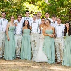 Casual khaki groomsmen attire and dusty green bridesmaid dresses