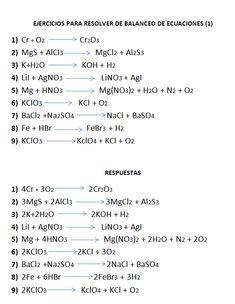 Ejercicios de balanceo de ecuaciones Study Chemistry, Chemistry Classroom, Chemistry Lessons, Chemistry Notes, Teaching Chemistry, Biology Lessons, Science Chemistry, Physical Science, Organic Chemistry Reactions
