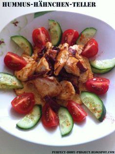 Hummus-Hähnchen-Teller, hummus, healthy, chicken