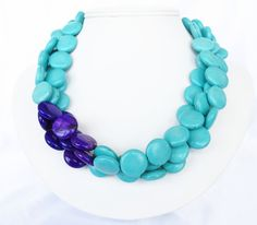 Turquoise and Purple Necklace - Asymmetrical Purple and Turquoise Statement Necklace.