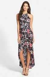 ASTR Floral Print High Neck Maxi Dress