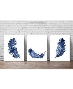 Baby Boy kwekerij Wall Decor moderne cadeau idee. Blauwe veren Art Print. Aquarel Feather Clipart Set 3 Marine Feather kinderen kamer minimalistisch Modern illustraties. Een prijs is voor de set van drie marineblauw Feather Art Prints, zoals aangegeven in de fotos. Het soort papier: