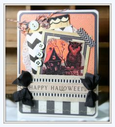 vintage style HALLOWEEN GREETING CARD spooky owl by PollysPaper, $7.00