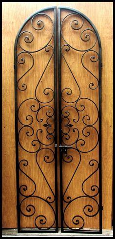 Forged Scroll Iron Wine Cellar Double Door - Leos Iron Wine Cellar Doors www. Iron Garden Gates, Fence Doors, Wrought Iron Doors, Iron Work, Italian Wine, Iron Decor, Double Doors, Metal Art, Decoration
