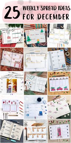 Cleaning Bullet Journal Weekly Spread Setup Ideas - Bullet Journal Theme Bullet Journal Weekly Spread Layout, Bullet Journal Themes, Shooting Star Wish, Holly Wreath, Happy December, Bubble Letters, Draw On Photos, Holly Leaf, Twinkle Lights
