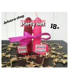 Bachelorette Itinerary, Bachelorette Party Gifts, Joke Gifts, Funny Gifts, Pink Candles, Pink Parties, Bride Gifts, Soap, Place Card Holders