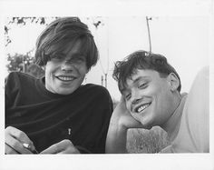 Tim Burgess of the Charlatans and Terry Christian, soon to be presenter of The Word, photographed in June 1990 by Matt Squire, brother of John Squire of the Stone Roses Matt Squire