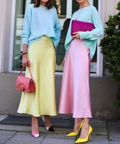 style Inspiration elegant - L& Right Now: Slip Skirts + Sweaters + Sneakers Colourful Outfits, Colorful Fashion, Simple Outfits, Colorful Clothes, Trendy Outfits, Mode Outfits, Fashion Outfits, Womens Fashion, Office Outfits