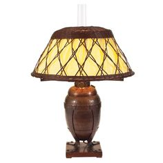 """Gustav Stickley (1858-1942) - Table Lamp, #508. Hammered Copper on Oak Base with Wicker Shade. Circa 1900. 26-1/2"""" x 18""""."""