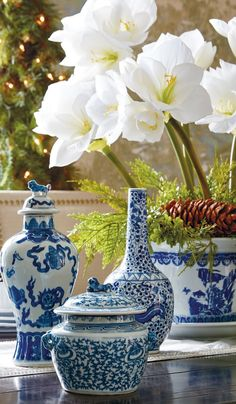 A stunning collection of chinoiserie, these beautiful vases and jars are based on authentic works of art passed down from generation to generation, starting in the Ming dynasty. Showcasing traditional patterns and motifs in the classic blue and white palette, each wheel-thrown piece is a one-of-a-kind work of art.