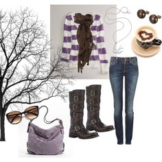 """""""Coffee and Lilac"""" Fall Styling with tall Durango Boots! cute!"""