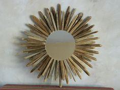 Southwestern Sunburst Mirror Framed With Saguaro by DesertTwigs Driftwood Wreath, Driftwood Mirror, Driftwood Ideas, Driftwood Projects, Desert Art, Southwest Decor, Sunburst Mirror, Living Room Art, Mirrors