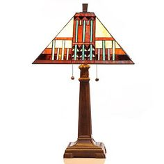 Tiffany-Style 25 Multi Colored Mission Art Deco Stained Glass Table Lamp