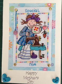 Cross Stitched Mother's Day Card