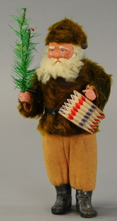 Exquisite example of craftsmanship, this Santa has mischievous facial expression, fur like coat and bell tipped cap, . Antique Christmas, Christmas Past, Vintage Christmas Ornaments, Father Christmas, Primitive Christmas, Retro Christmas, Christmas Items, Christmas Candy, Christmas Diy