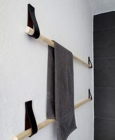 Baldas y percheros: toallero con pasadores de cuero