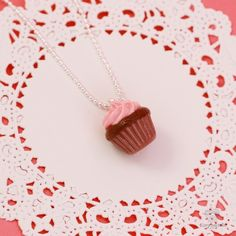Scented Strawberry Chocolate Cupcake Necklace