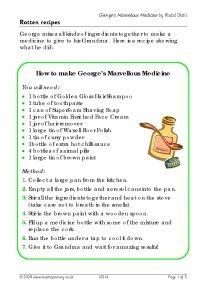 George's Marvellous Medicine - write a recipe
