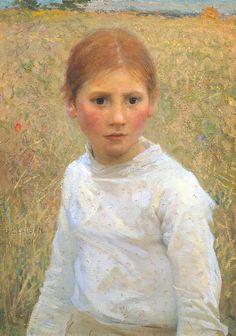 Sir George Clausen [George Clausen] (1852–1944): Brown Eyes, 1891, oil on canvas, 559 x 413 mm, Tate Britain, London, United Kingdom,