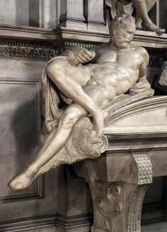 Michelangelo (1475-1564) ~ detail of Dusk by Michelangelo for the tomb of Lorenzo de' Medici.