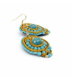 Boho beaded earrings agate Casual jewelry Soutache by Golubchak
