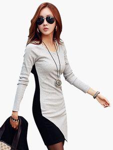 Long Sleeves Color Blcck Stylish Woman's Mini Dress