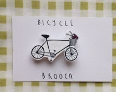 Illustrated bicycle bike shrink plastic brooch/pin