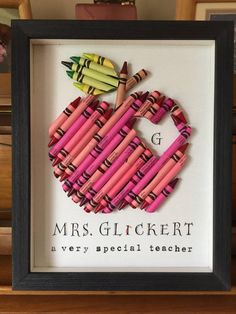 Crayon Apple Teacher Gift, Framed Crayon Personalized Apple, Heart, Custom Teacher Appreciation gift, Small 8 x 10 - Lehrer Diy Cadeau, School Gifts, Creative Gifts, Unique Gifts, Craft Gifts, Tracher Gifts, Creations, Homemade Teacher Gifts, Teacher Gift Diy
