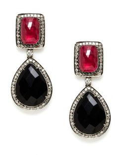 Boxy and round, bright and dark. (Amrapali   Ruby Rectangle & Onyx Teardrop Earrings)