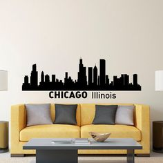 Chicago Skyline Wall Decal City Silhouette by FabWallDecals