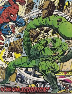 "The Scorpion and Spider-Man battle in Spectacular Spider-Man # 21 ""Scream Scorpion"""