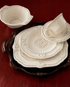 "Wood handled chargers!  20-Piece ""Ivory Baroque"" Dinnerware Service at Neiman Marcus."