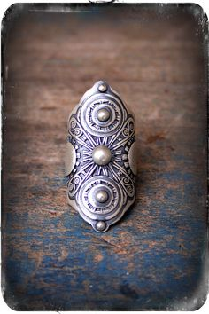 Armor Ring A Sterling Silver Filigree Saddle Ring by RosyRevolver