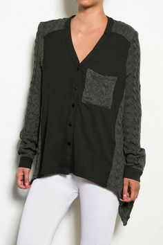 Hide Away Cable Knit Sweater Top - Grey + Black $39.00 #shopdailychic
