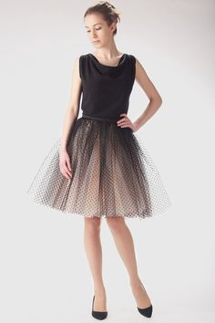 I really really love this skirt!   Adult champagne tutu skirt with black dots, wedding tulle skirt, petitcoat