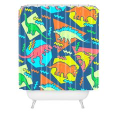 Chobopop 90s Dinosaur Pattern Shower Curtain | DENY Designs Home Accessories