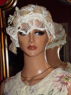 Flapper Hat Cloche Hat 1920 style Crochet White ♥ by ludascrafts, $149.99