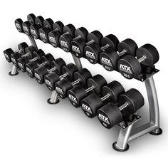 Polyurethan Dumbbell - ATX® - Kompakthantelsatz 5 - 20 kg Commercial Fitness Equipment, Home Gym Equipment, No Equipment Workout, Dumbbell Set With Rack, Dumbbell Rack, At Home Workout Plan, At Home Workouts, Garage Gym, Tandem Garage