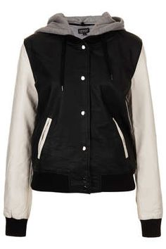 Contrast Leather-Look Bomber
