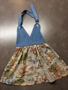 Girls size 3/4 Winnie the Pooh apron, top is made with recycled jeans