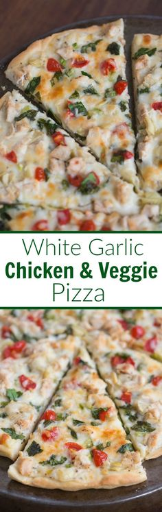 White Garlic Chicken and Vegetable Pizza with my favorite creamy white garlic sauce and the BEST homemade pizza crust! | Tastes Better From Scratch