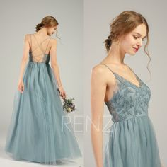 Evening Dress Dusty Blue Tulle Bridesmaid Dress V-neck Wedding Dress Spaghetti Strap - Gari Upycycling - brautjungfern kleider Dusty Blue Dress, Dusty Blue Bridesmaid Dresses, Blue Dresses, Dresses Dresses, Party Dresses, Dresses Online, Formal Dresses, V Neck Wedding Dress, Long Wedding Dresses