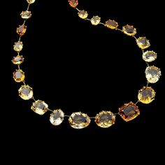 C2CT 141663 – H.Stern Sunrise Collection Necklace in Polished 18K Yellow Gold with Vitrines, Diamond and Sapphire Accents