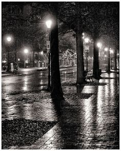 Rainy Night on High Street, Olde Towne, Portsmouth, Virginia, night scene, sepia, fine art photography, black and white photo print