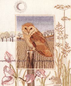 Barn Owl Cross Stitch Kit from Derwentwater Designs