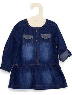 Vestito denim Bimba 12,99€ Vestiti Taglio svasato, maniche rimboccabili, un vestito di jeans che conquisterà tutte le mamme! Vestito forma svasata, girocollo, maniche rim