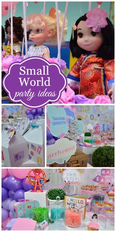 A Small World girl birthday party with dolls and an amazing backdrop and cake! See more party planning ideas at CatchMyParty.com!
