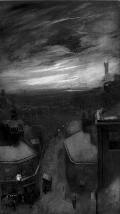"""william hyde - end of a winter day, etching (photogravure), from """"london impressions"""", 1898."""